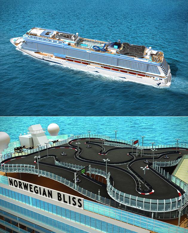 Norwegian Bliss Go-Kart Cruise Ship