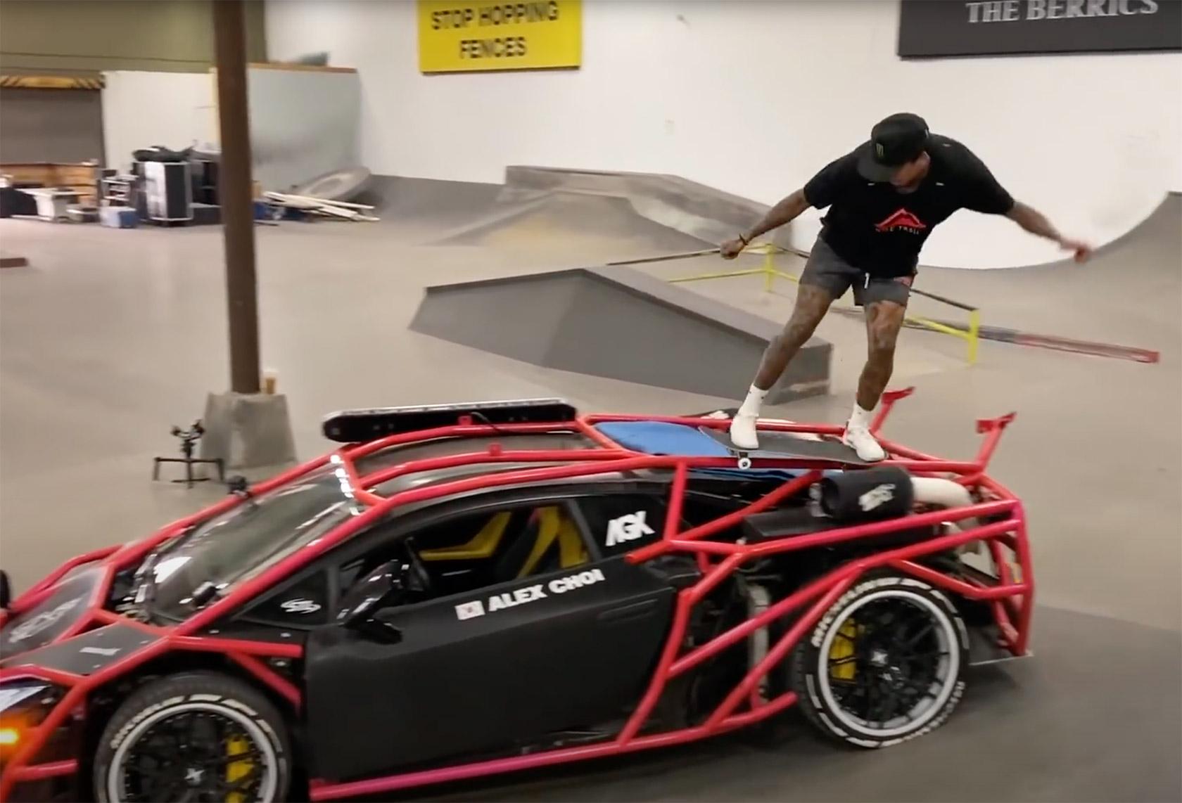 Nyjah Huston Skates Lamborghini