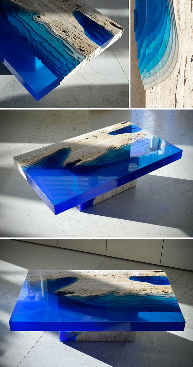 Artist Merges Resin With Travertine Marble To Create An