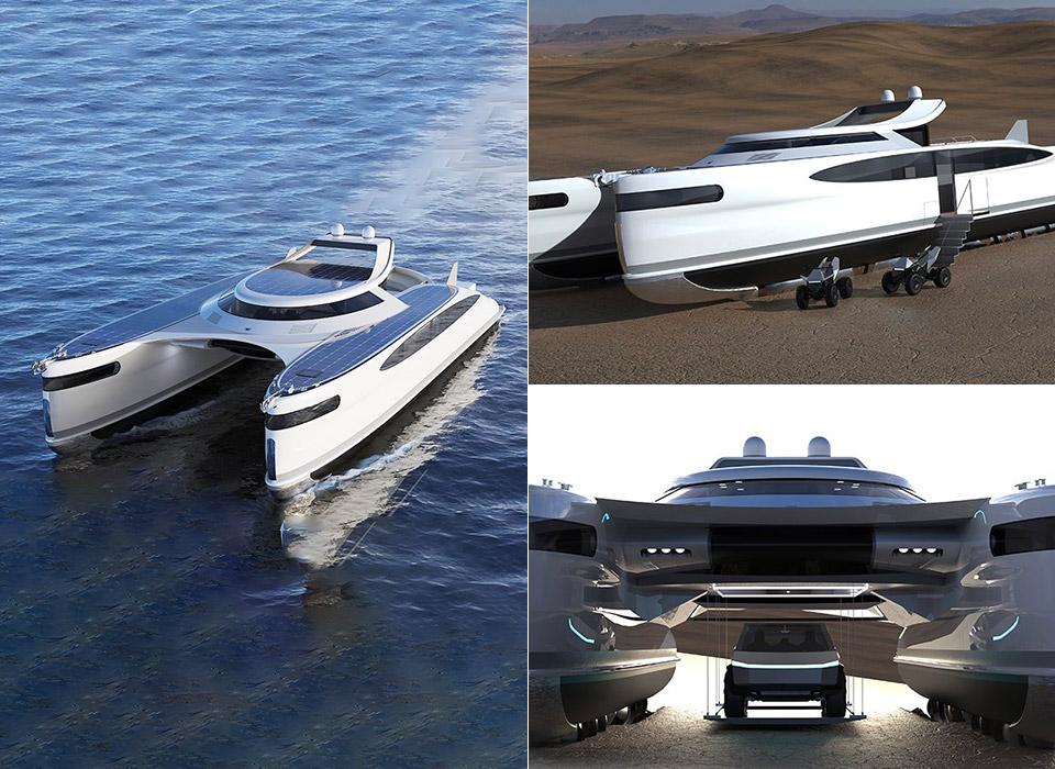 Pagurus Solar-Powered Amphibious Catamaran
