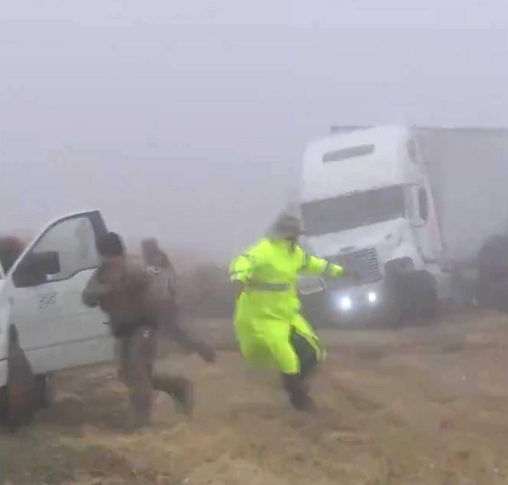 Photographer Semi Truck Fog Crash