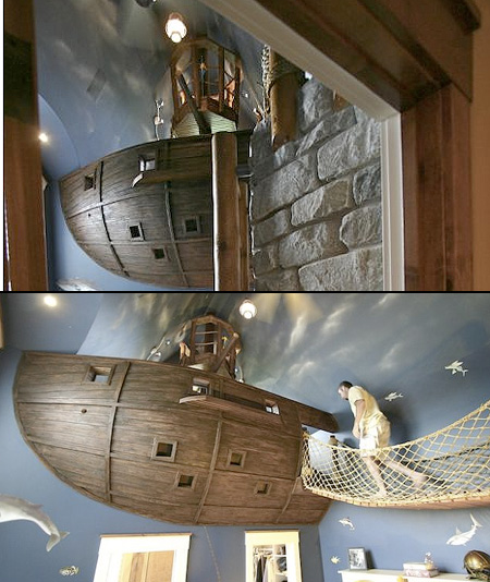 World's Coolest Bedroom Has a Floating Pirate Ship - TechEBlog