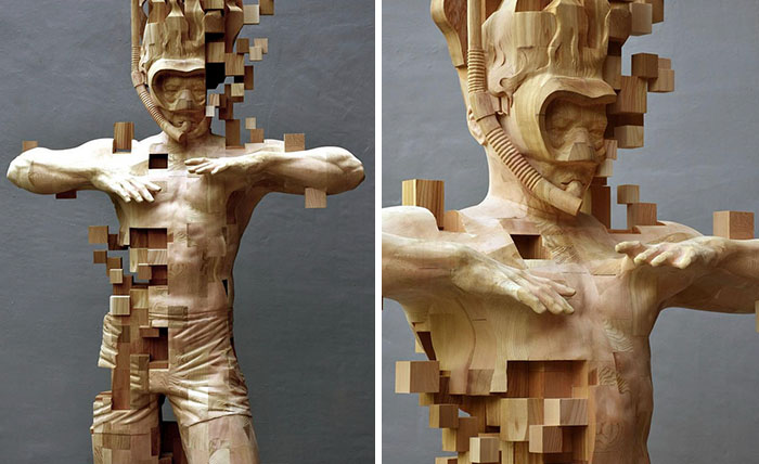 This is Not an Optical Illusion, Just a Real Pixelated Sculpture Made Entirely from Wood