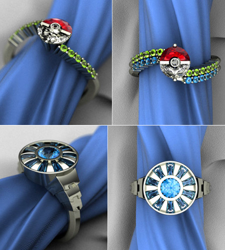 Pokeball and Iron Man Arc Reactor Engagement Rings Might be Geekiest ...
