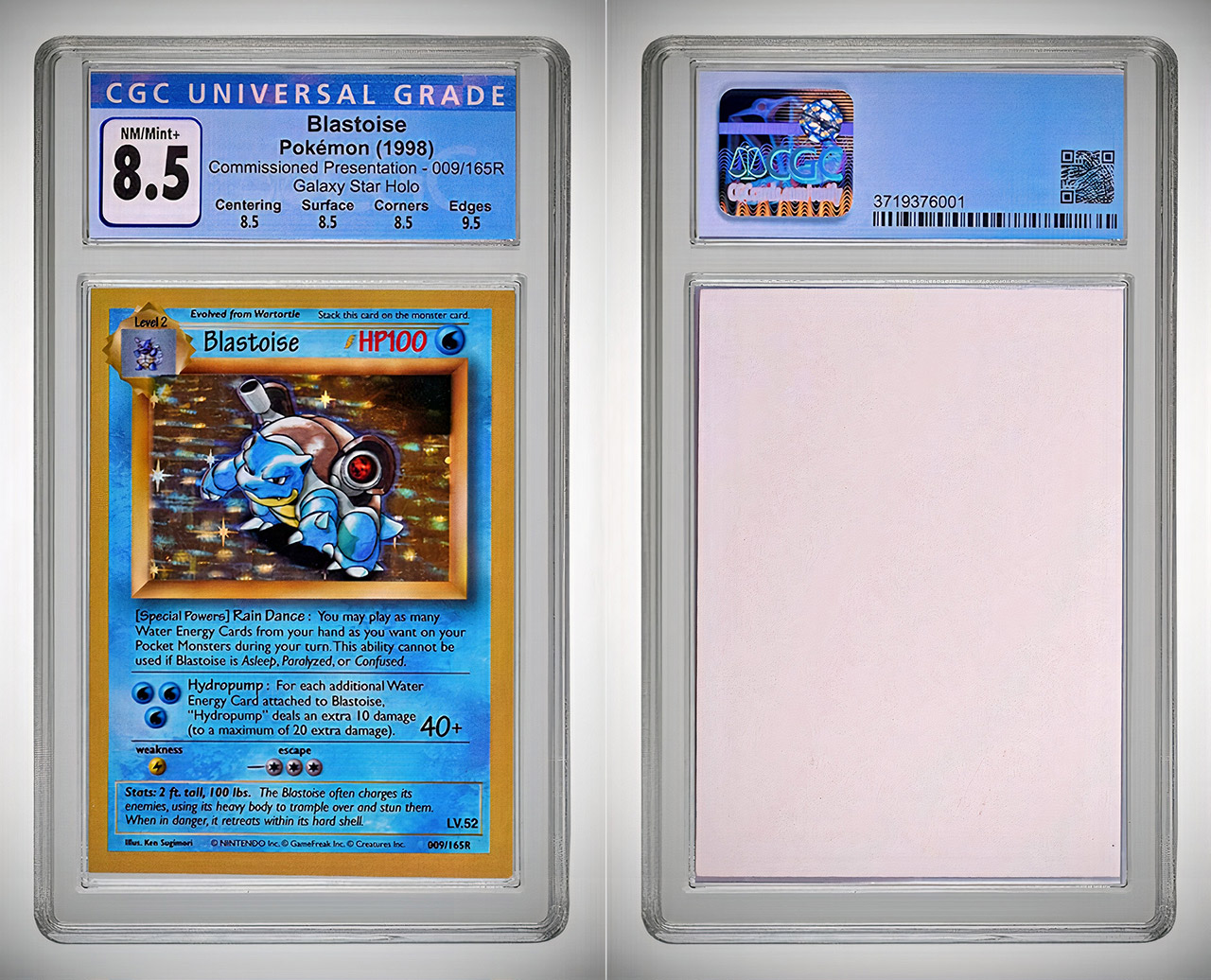 Pokemon Blastoise 009 165R Commissioned Presentation Galaxy Star Holo