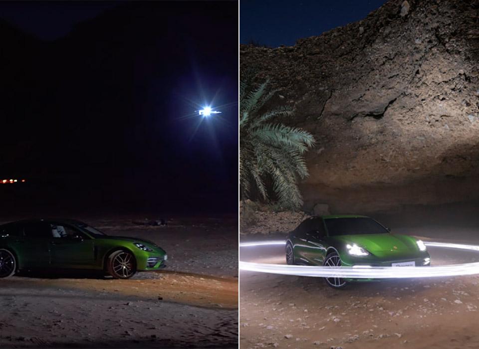 Porsche Light Painting Desert Drone