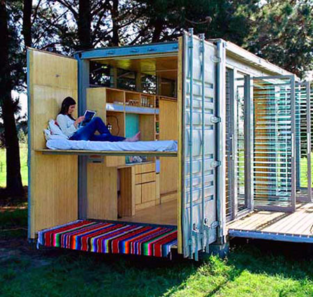 Port a bach the shipping container turned mobile vacation home techeblog - Mobile home container ...