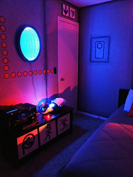 Geek creates the ultimate portal room complete with for Geek bedroom ideas