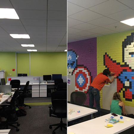 Reddit user turns boring office space into superhero for Office design reddit