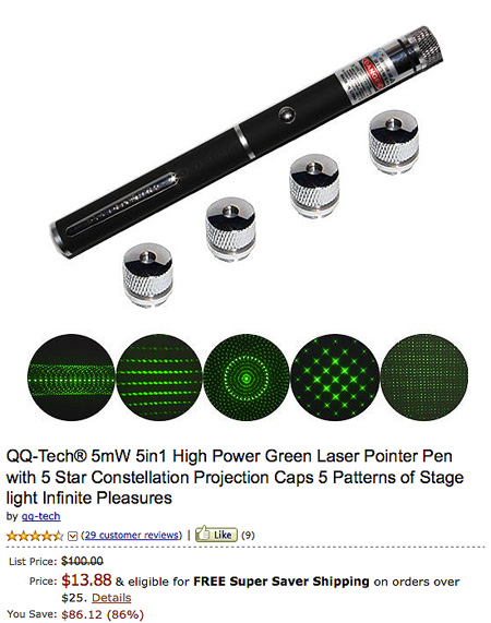 Qq Tech 5mw Green Laser Pointer Pen With Star Constellation