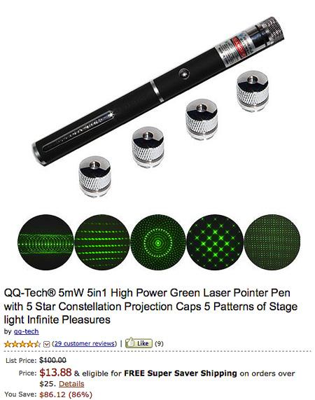 Qq Tech 5mw Green Laser Pointer Pen With Star Constellation