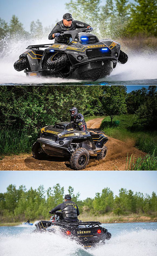 Квадроцикл-амфибия патруль может быть конечная полицейский автомобиль, может переходить из квадроцикла в гидроцикл за 5 секунд