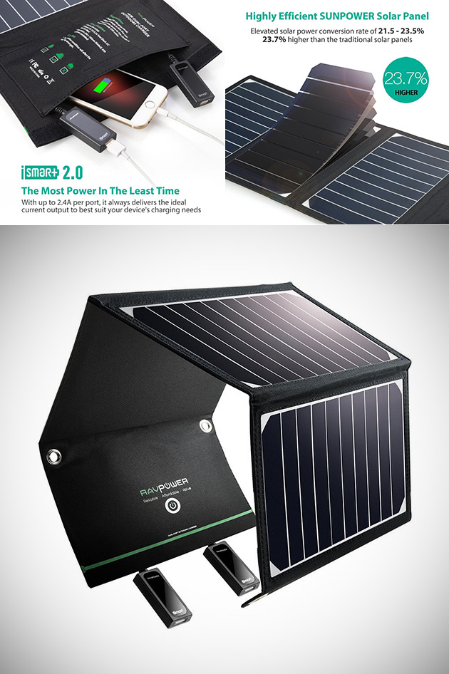 Don't Pay $120, Get RAVPower's 16W Dual USB Port Solar Charger for $49.99 Shipped - Today Only