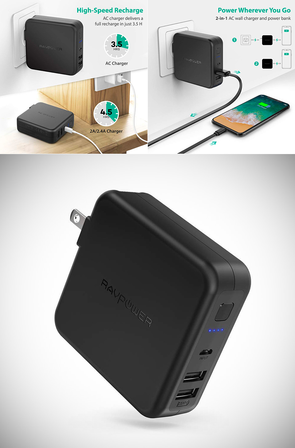 RAVPower Battery Pack Wall Charger