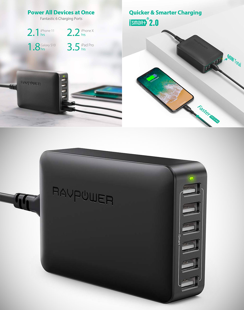RAVPower 60W USB Charging Station