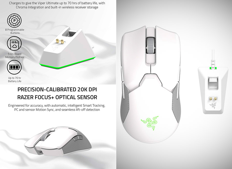 Razer Viper Ultimate Lightest Wireless Gaming Mouse Mercury