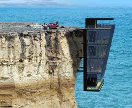 This is not an optical illusion just a real home hanging for Cliff hanging homes