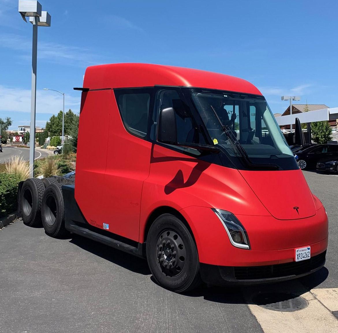Red Tesla Semi