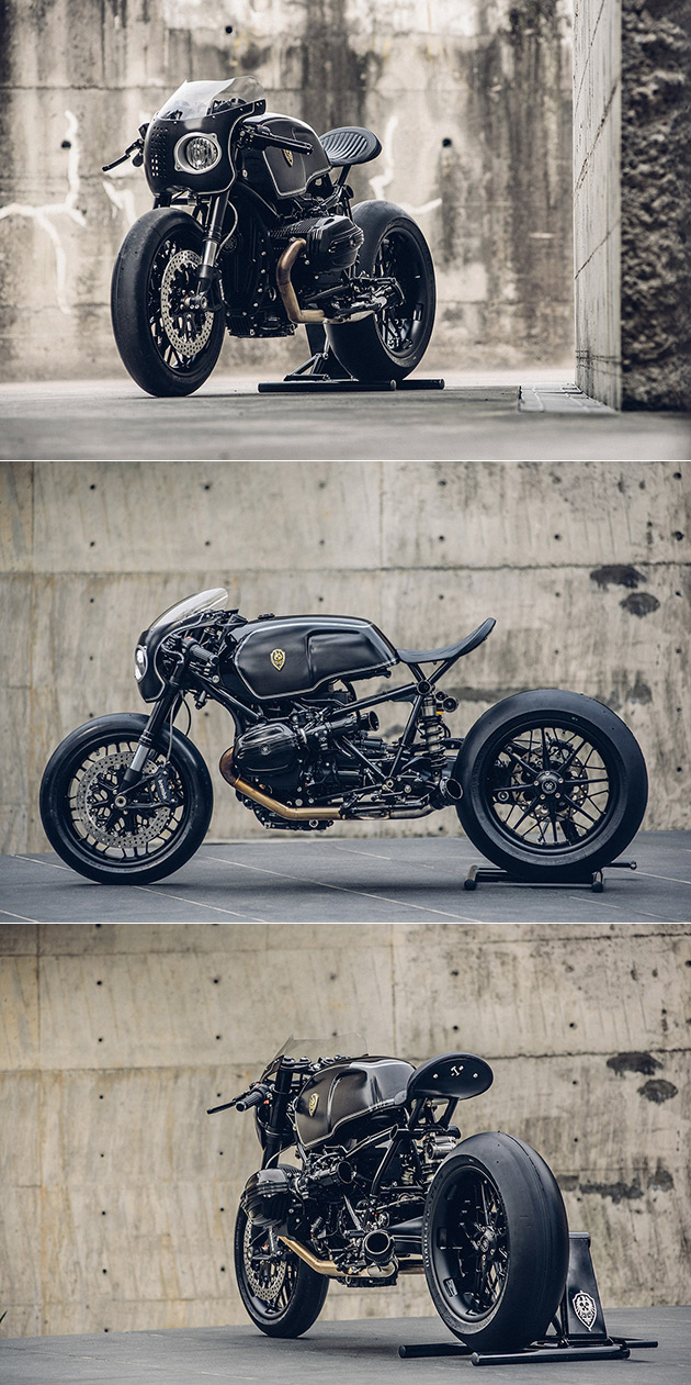 Construit sur mesure Approximative de l'Artisanat de la BMW R nineT Moto est Noirci, Parfait pour Batman