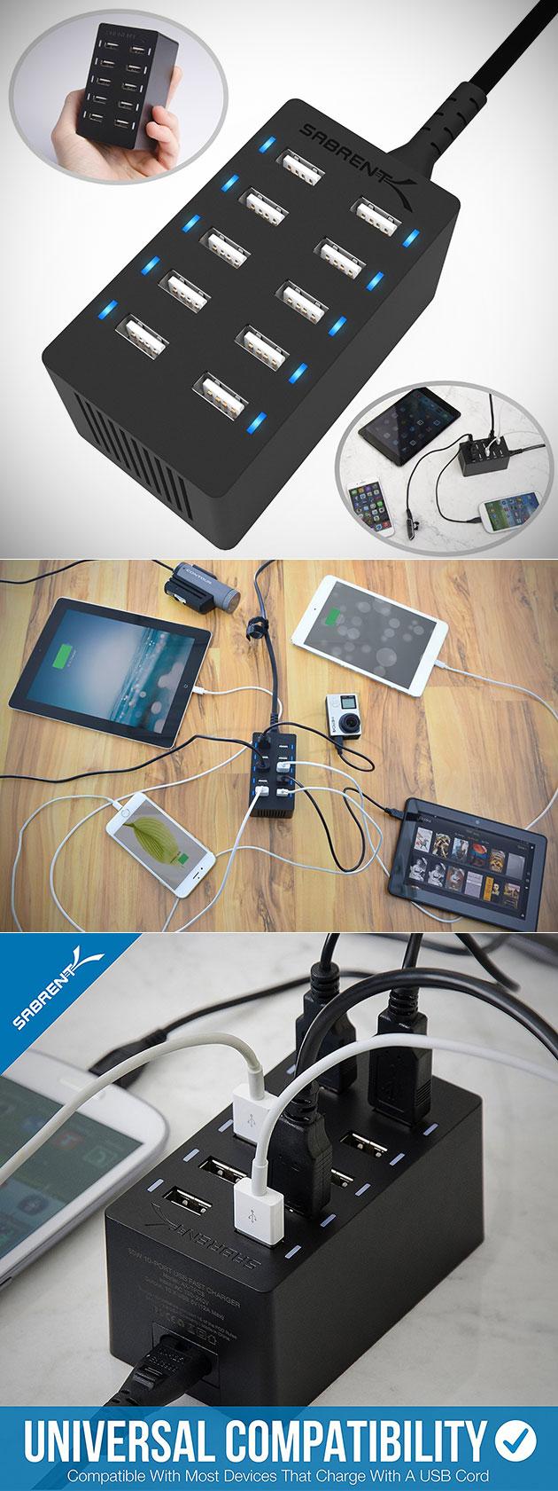 Sabrent 60 Watt 10-Port Desktop Charger