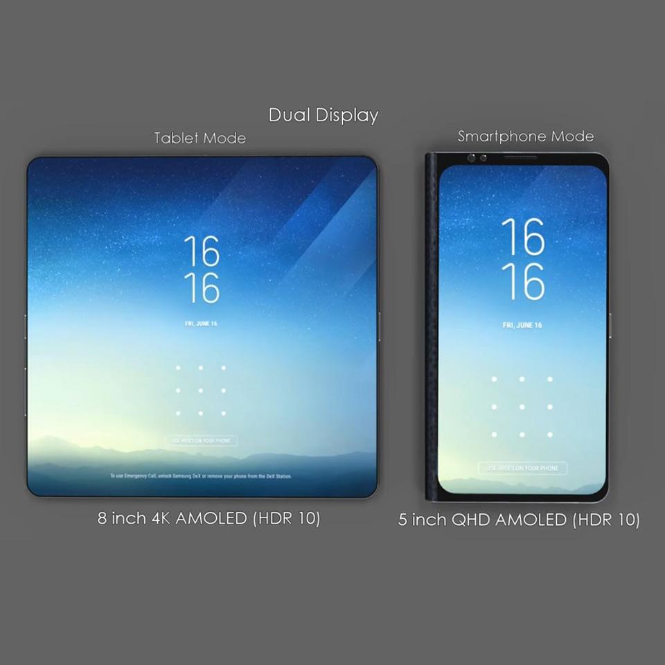 foldable samsung galaxy x has 8 4k amoled display in tablet mode techeblog. Black Bedroom Furniture Sets. Home Design Ideas