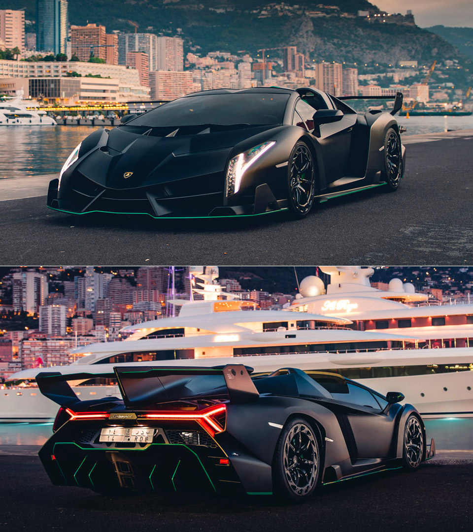 Satin Black Lamborghini Veneno Roadster Batman