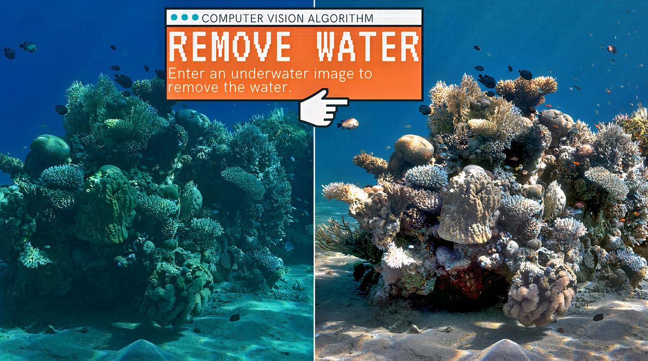 Sea-Thru Algorithm Remove Water Underwater Image