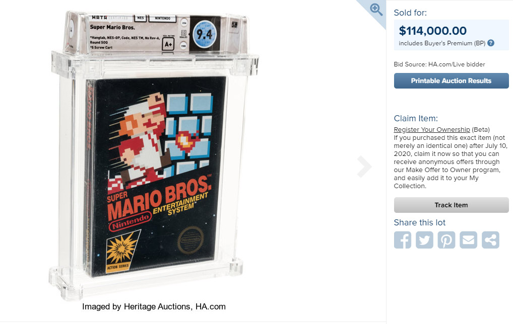 Sealed Graded Super Mario Bros. Game NES