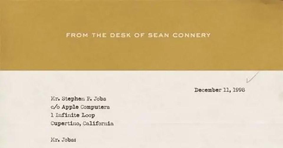 Sean Connery Steve Jobs Letter
