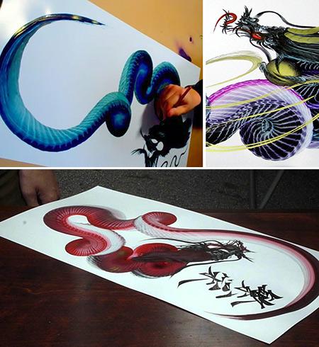 Japanese Single Stroke Dragon Painting