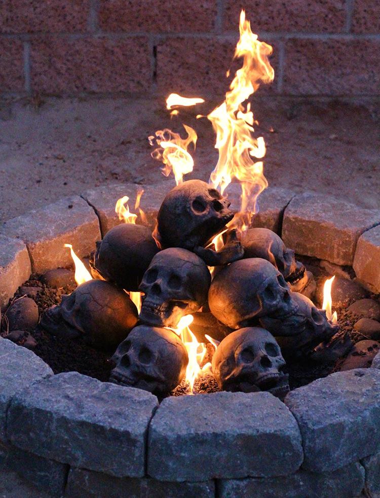 Skull Fire Pit Gas Logs