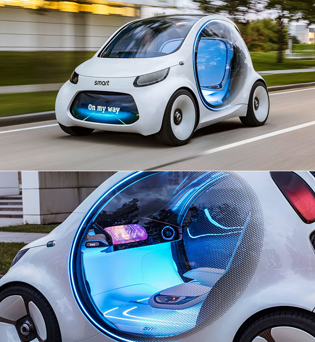 smart vision eq fortwo is a self driving pod car with an. Black Bedroom Furniture Sets. Home Design Ideas