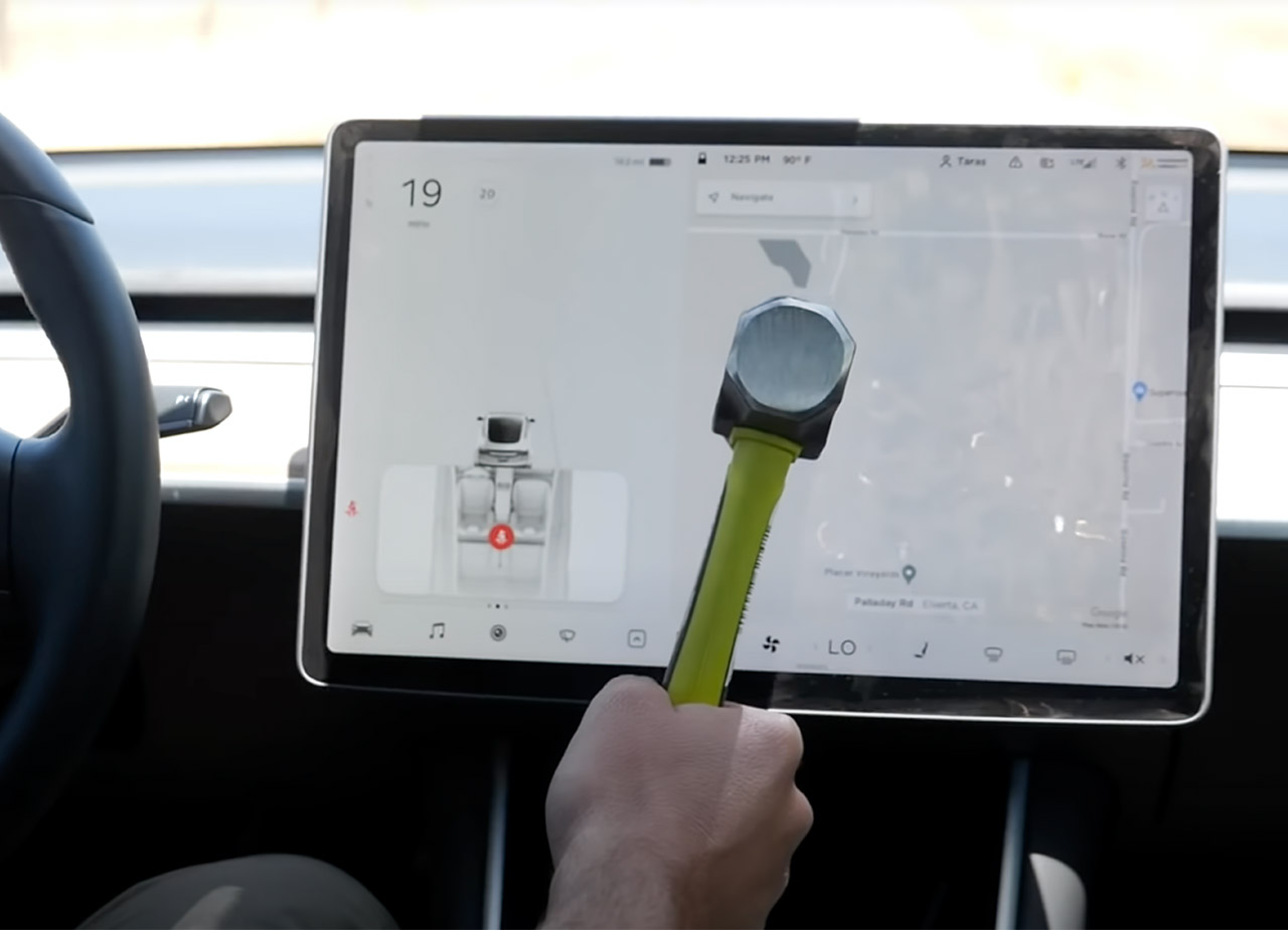 Smash Tesla Model 3 Screen Driving