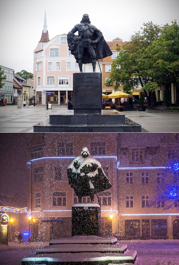 Snow Turns Statue Into Vader