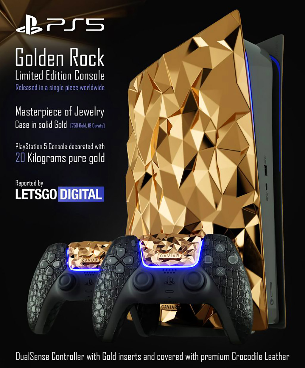 Sony PS5 Golden Rock Solid Gold Console