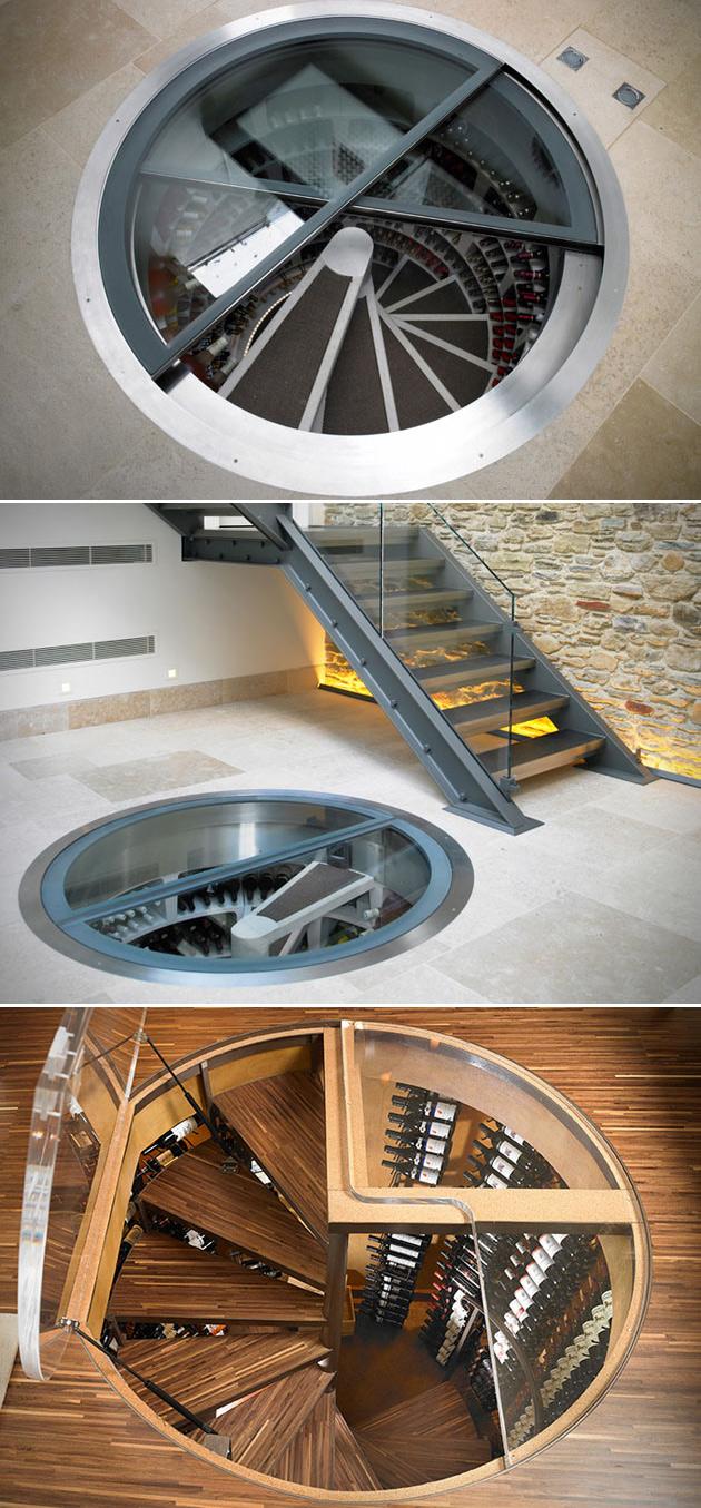 Spiral Wine Cellar Under Floor