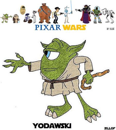 pixar characters in other pixar movies. look in a Pixar film,