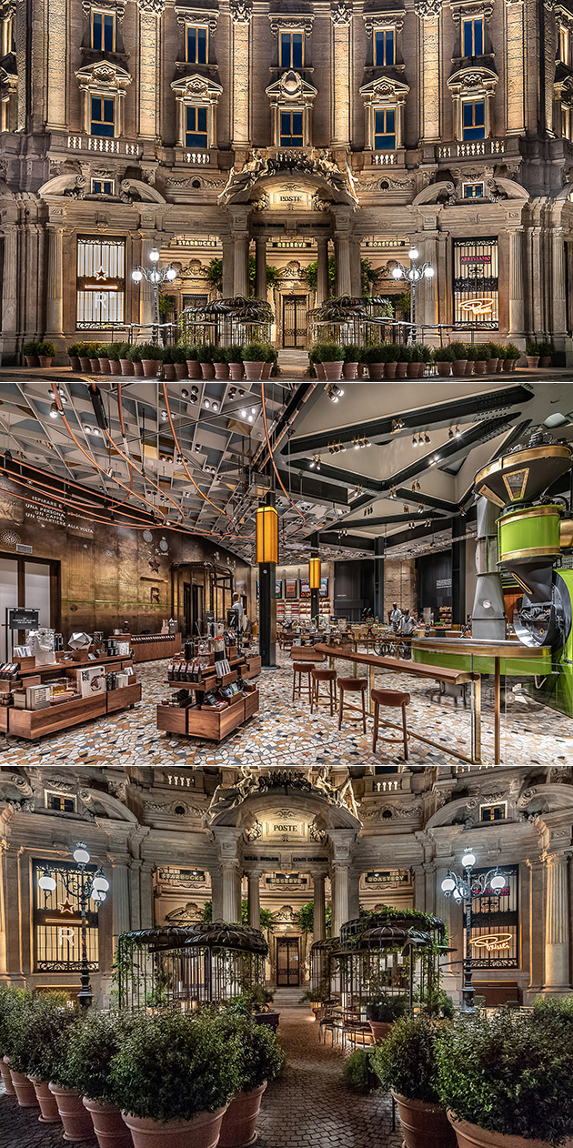 Starbucks reserve roastery milan is company 39 s first store for Starbucks italie