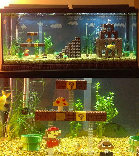 super mario bros fish aquarium might be coolest ever techeblog. Black Bedroom Furniture Sets. Home Design Ideas