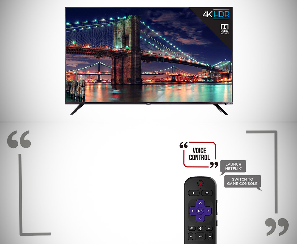 TCL 65 4K Ultra HD Roku Smart LED TV