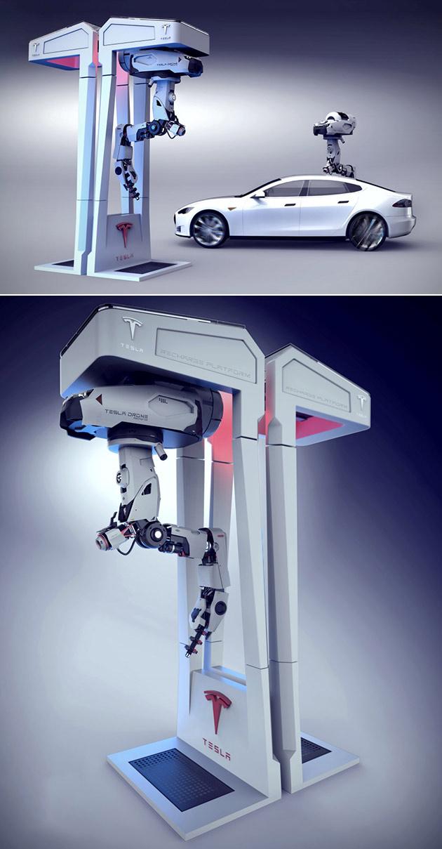 Futuriste Station de Charge de Tesla Est un Drone Qui Ressemble à un Robot Terminator