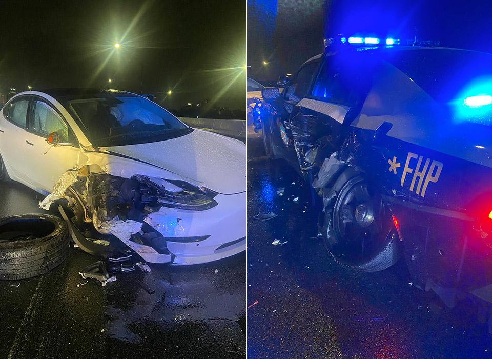 Tesla Model 3 Autopilot Florida Highway Patrol Police Crash