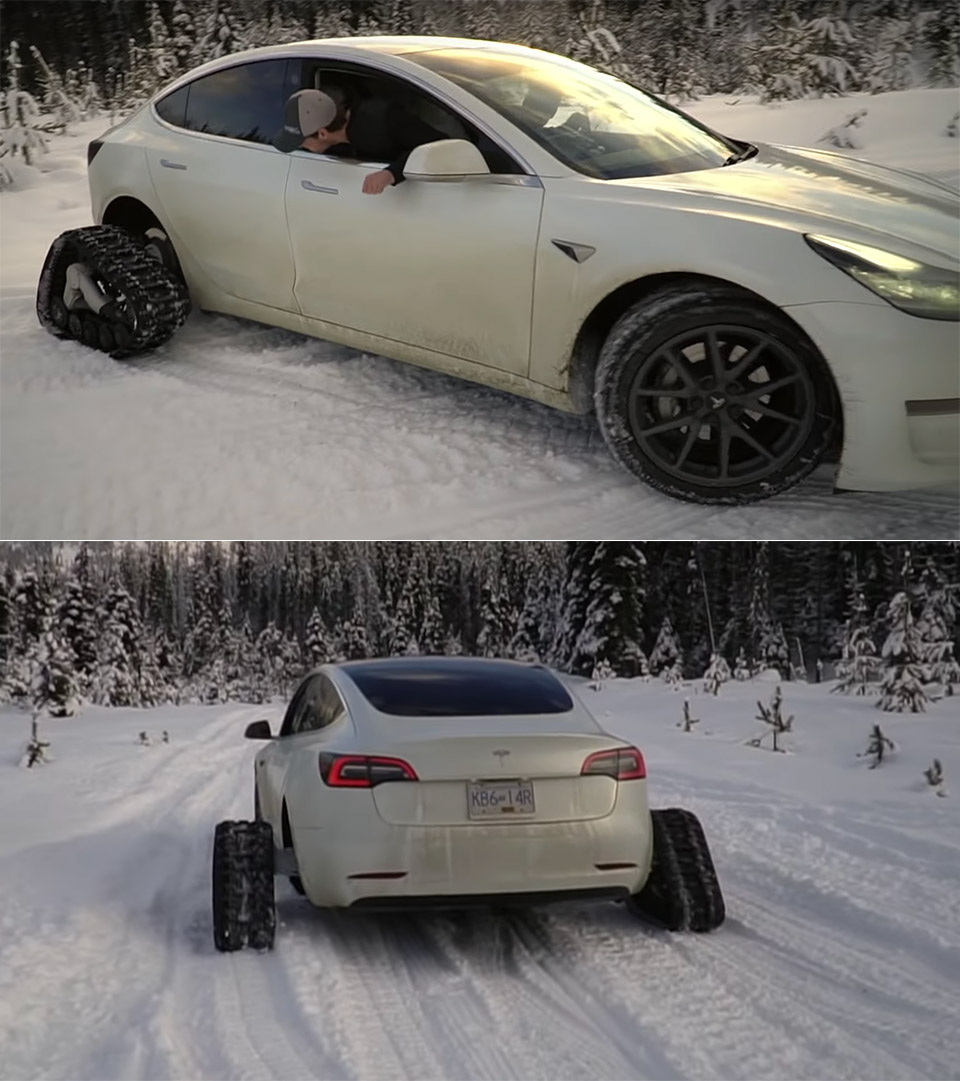 Tesla Model 3 Snow Tracks