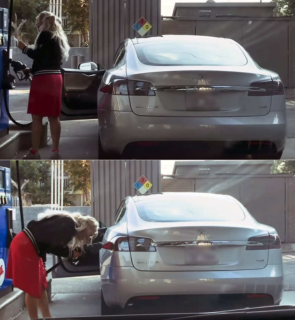 Tesla Model S Fill Up with Gas