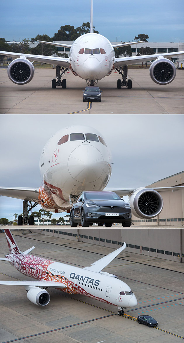 Tesla Model X Pulling a Boeing 787-9 Dreamliner and 15 More Fascinating Images