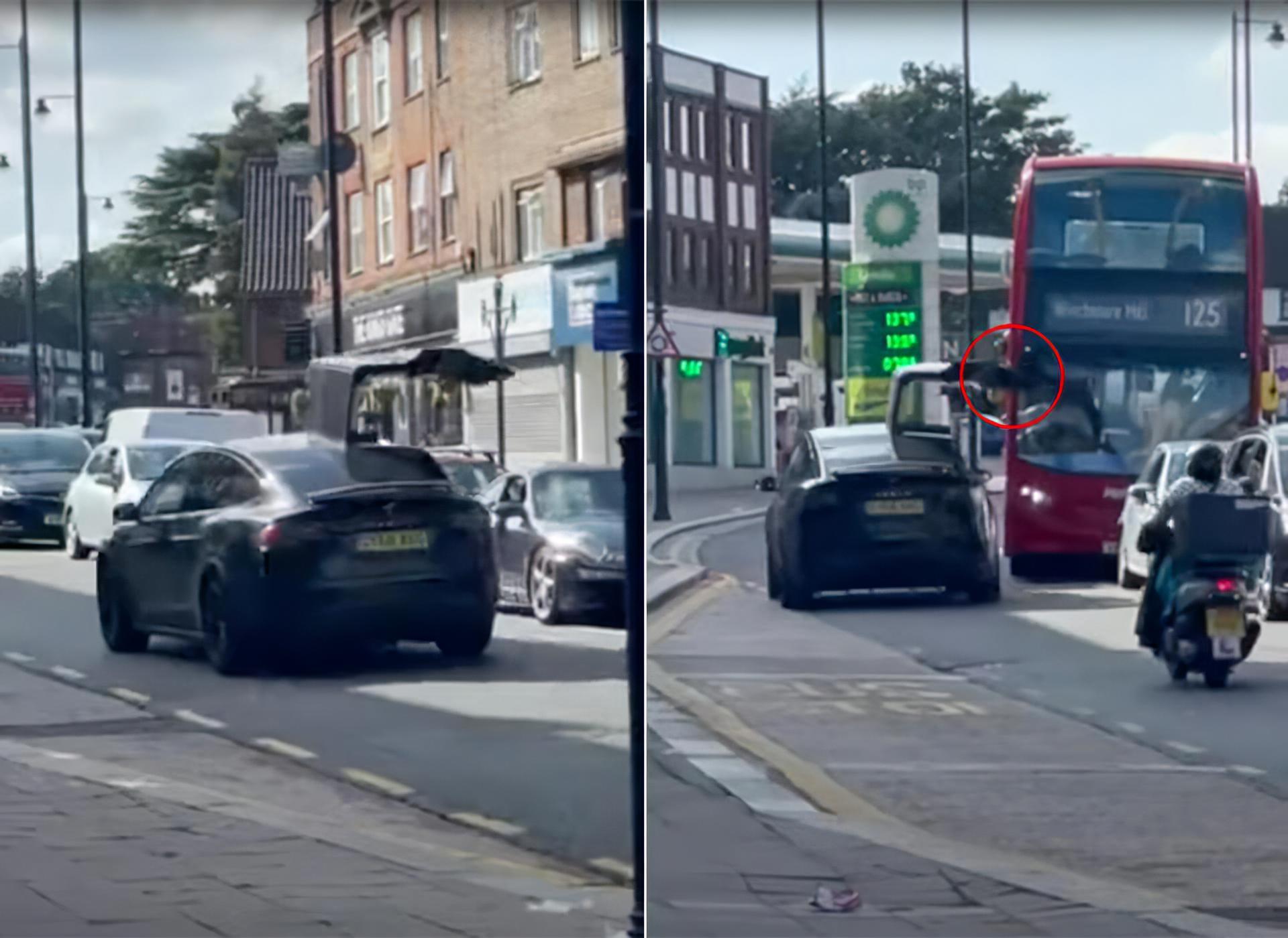 Tesla Model X Falcon Wing Door Open London Bus