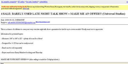 Tonight Show Craigslist Posting Set Up By Conan - TechEBlog