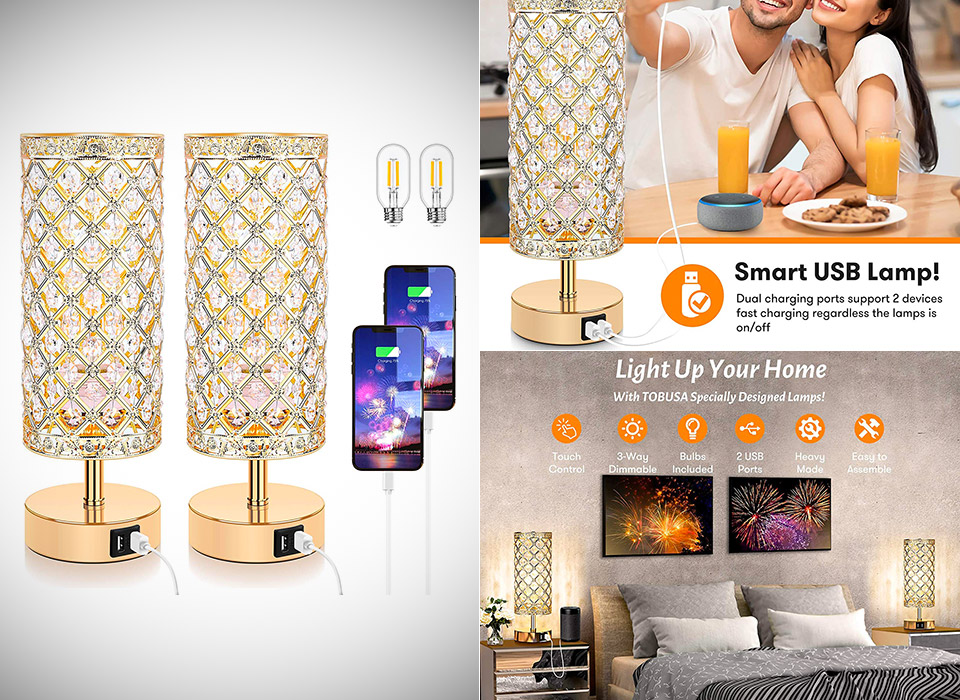 Touch Control Crystal Table Lamp USB Charging