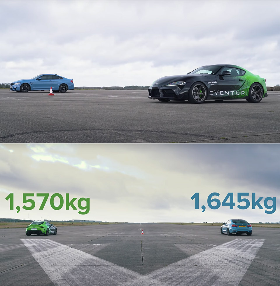 Toyota Supra vs. BMW M4 Drag Racing
