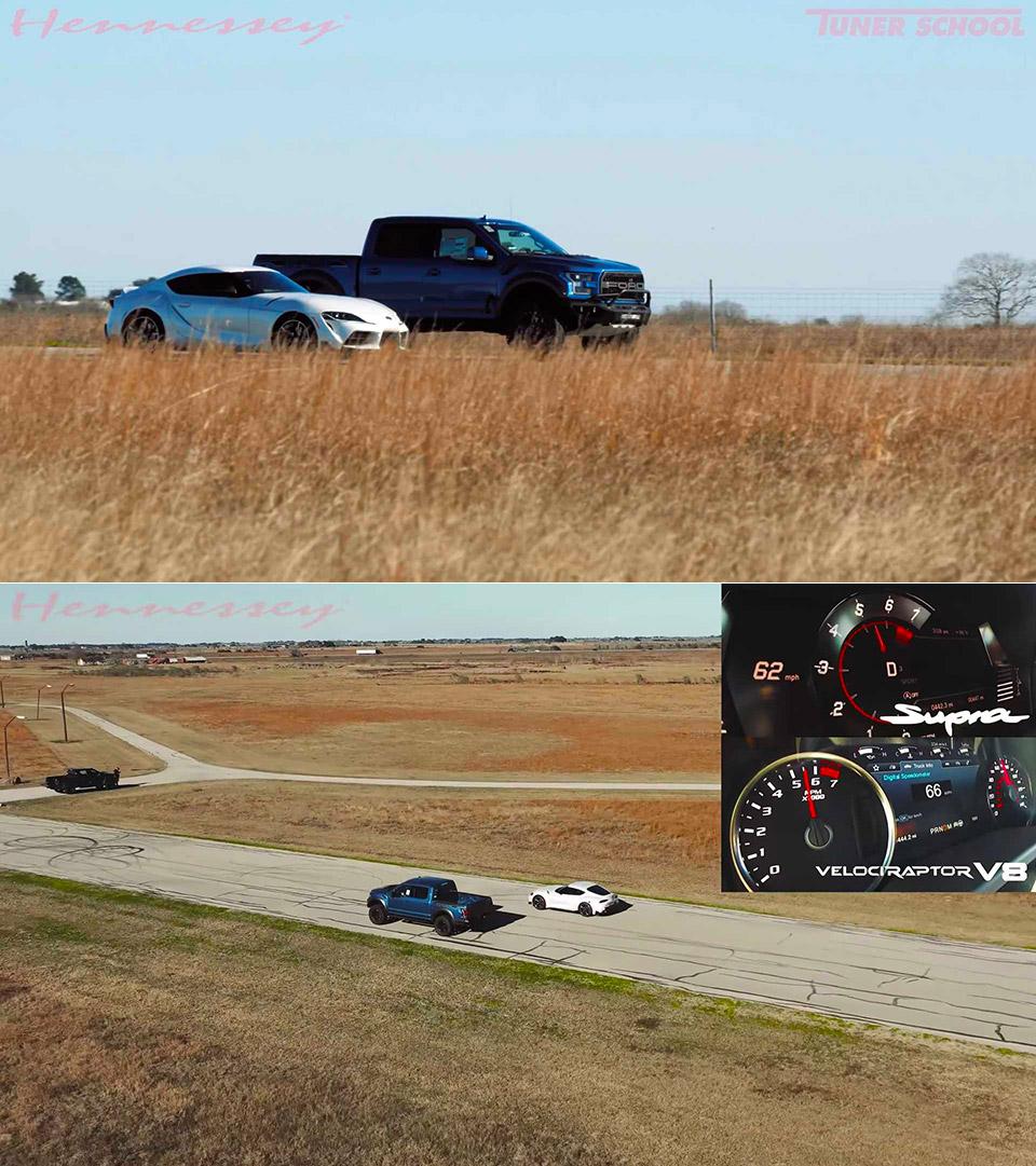 Toyota Supra vs Hennessey Velociraptor V8